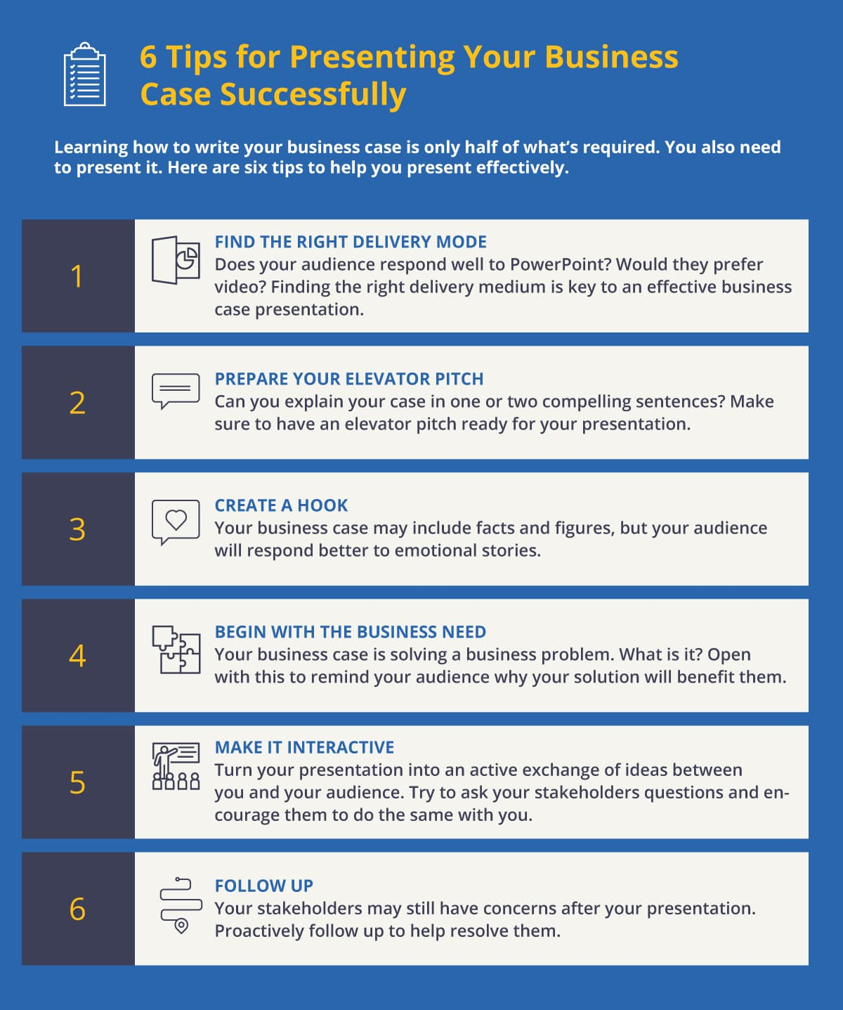 6 Tips for Presenting Your Business Case Successfully