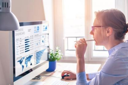 Woman studying business online