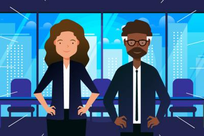 Two employees standing side-by-side in a high-rise office building.
